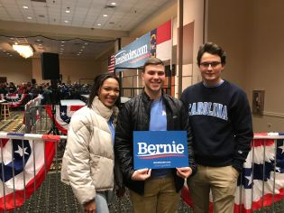 UNC YD Members at a Bernie Sanders Rally in Durham - February 2020