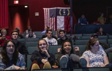 Super Tuesday Watch Party at the Varsity Theatre - March 2020 (Photo courtesy of the Wall Street Journal)