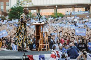 Nina Turner addressing crowd at UNC Bernie rally