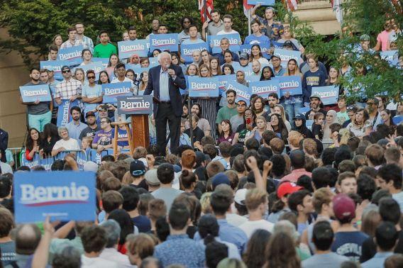 Bernie addressing UNC crowd