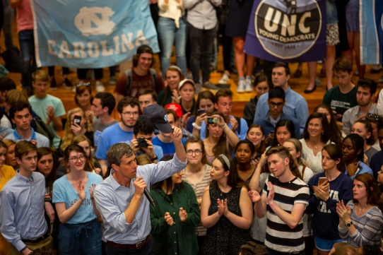Beto O'Rourke addressing UNC students in April 2019